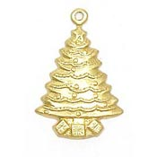 Tree With Presents Charm Brass