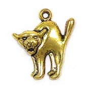 Scared Cat Charm Gold