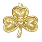 Shamrock With Claddagh Charm Brass