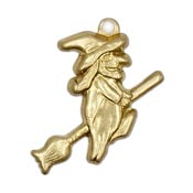 Flying Witch Charm Brass