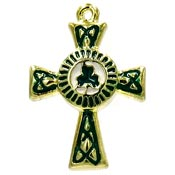 Enamel Celtic Cross Charm Pendant With Shamrock