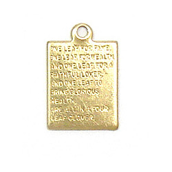 Four Leaf Clover Plaque Charm Brass