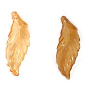 Transparent Orange Or Brown Curling Leaf Charms