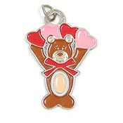 Four Heart Teddy Charm