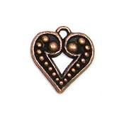 Granulated Heart Charm Copper