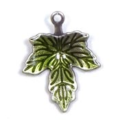Maple Leaf Charm With Green Enamel