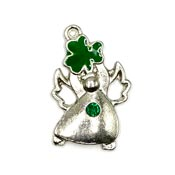 Irish Angel Charm With Shamrock