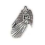 Large Angel Charm Silver Plated