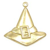 Large Witch Hat Charm Brass