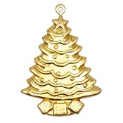 Large Tree With Presents Charm Brass