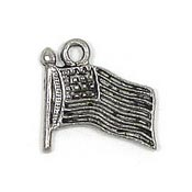 Flag Charm Silver Plated
