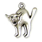Scared Cat Charm Silver