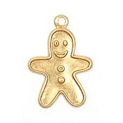 Gingerbread Boy Charm Brass