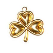 Small Shamrock Charm Brass