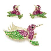 Adorable Rhinestone Hummingbird Earring And Pin Set