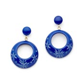 Cornflower Drop Hoop Earrings By Splendette