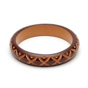 Midi Walnut Carved Bangle By Splendette