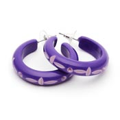 Violet Carved Hoop Earrings By Splendette