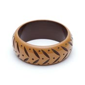 Wide Almond Carved Bangle By Splendette