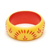 Wide Sunrise Carved Bangle By Splendette