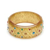 Wide Rainbow Jewel Gold Glitter Bangle By Splendette