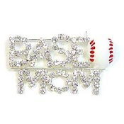 Rhinestone Baseball Mom Pin