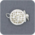 Sterling Round Filigree Box Clasp Single Strand