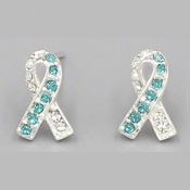 Cervical Cancer CZ Ribbon Earrings