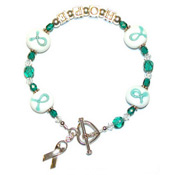 Teal Lampwork HOPE Ribbon Bracelet