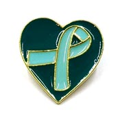 Teal Ribbon Heart Pin