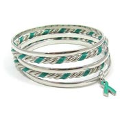 Teal Ribbon Bangle Bracelet Set