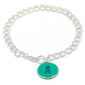 Teal Custom Colors Of Support Round Charm Bracelet