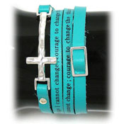 Teal Serenity Prayer Wrap Bracelet