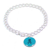 Turquoise Custom Colors Of Support Round Charm Bracelet