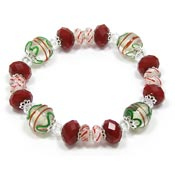 Christmas Magic Beaded Lampwork And Crystals Bracelet
