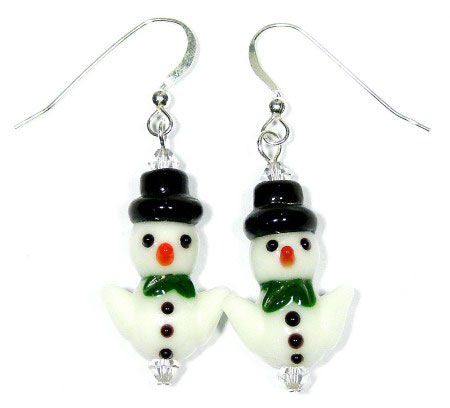 Lampwork Glass Snowman Earrings