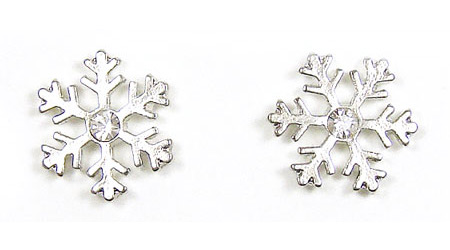 Little Silver Snowflake Earrings With Rhinestones