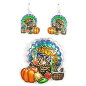 Thanksgiving Turkey Earrings And Pendant Set