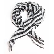 Black And White Striped Print Hair Scarf By Unique Vintage