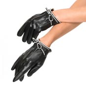 Black Leatherette Bow Short Gloves By Unique Vintage