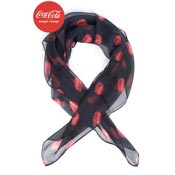 Coca Cola X Unique Vintage Black And Red Bottle Cap Print Hair Scarf