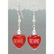 Glass Conversation Heart Earrings - Pick Your Color