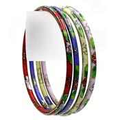 Four Cloisonne Bangle Bracelets Set