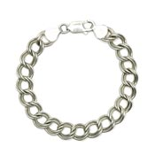 Vintage Heavy 9mm Double Curb Sterling Charm Bracelet