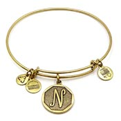 Alex And Ani Letter N Charm Bangle Gold