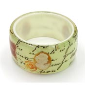 Amedeo Lettera D'Amore Carved Cameo Bangle Bracelet