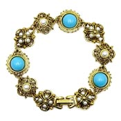 Vintage Faux Turquoise And Pearl Bracelet Signed Art