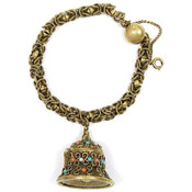 Vintage Antiqued Brass Bell Locket Bracelet