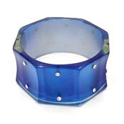 Octagon Blue Resin and Rhinestone Wide Bangle