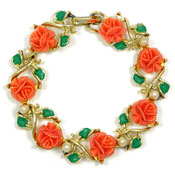 Coral Celluloid Rose And Pearl Bracelet Vintage